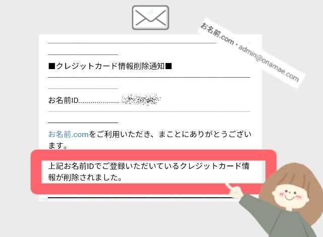 お名前ドットコムより「クレジットカード情報削除通知」のメールが届きます